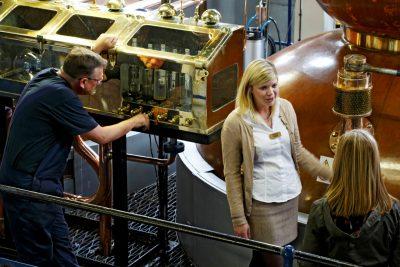 inside scottish whiskey distillery