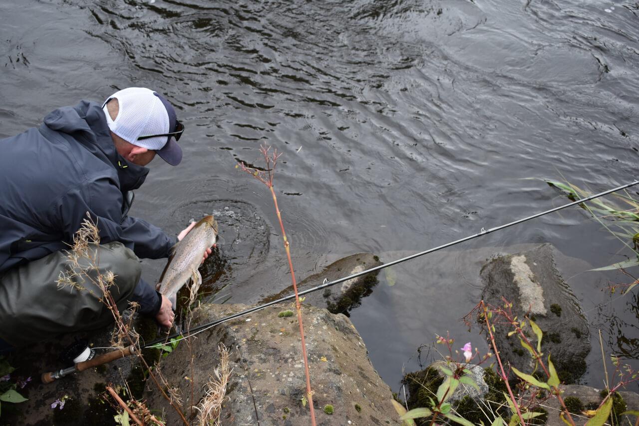 returning a salmon caught during salmon fishing trip
